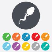 спермы знак значок. символ оплодотворения. — Cтоковый вектор