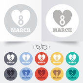 8 March Womens Day sign icon. Heart symbol. — Stock Vector