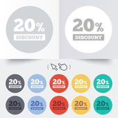20 percent discount sign icon. Sale symbol. — Stockvektor