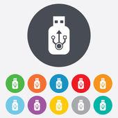 Usb 标志图标。usb 闪存驱动器坚持符号. — 图库矢量图片
