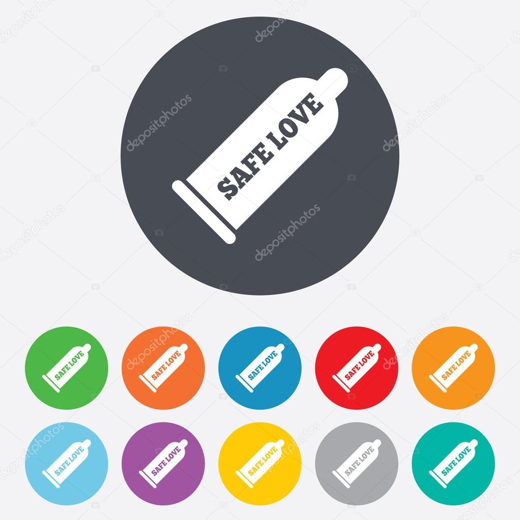 避妊 コンドーム コンドーム安全なセックスの記号アイコン。バリア避妊のシンボルです。カラフルな 11 ボタンをラウンドします。ベクトル – ストックイラストレーション
