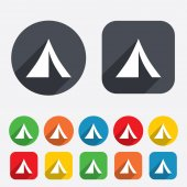 Tourist tent sign icon. Camping symbol. — 图库矢量图片