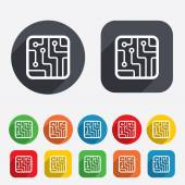Circuit board sign icon. Technology symbol. — Stock vektor