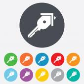 Key from the house sign icon. Unlock tool. — Stock Vector