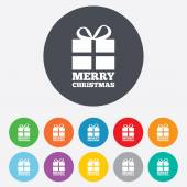 Merry christmas gift sign icon. Present symbol. — Vector de stock