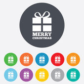 Merry christmas gift sign icon. Present symbol. — Vetorial Stock