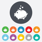 Piggy bank sign icon. Moneybox symbol. — 图库矢量图片