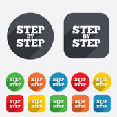 Step by step sign icon. Instructions symbol. — Stock Vector
