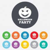 Halloween pumpkin sign icon. Halloween party. — Stock Vector