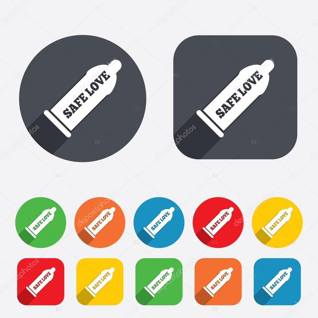 避妊 コンドーム コンドーム安全なセックスの記号アイコン。バリア避妊のシンボルです。円と丸みを帯びた正方形 12 ボタン。ベクトル – ストックイラストレーション