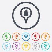 Ícone do sinal mapa ponteiro de comida. símbolo de marcador. — Vetor de Stock
