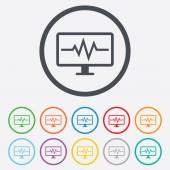 Cardiogram monitoring sign icon. Heart beats. — Stock Vector