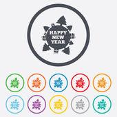 Frohes neues globussymbol zeichen. geschenke und bäume新年快乐地球标志图标。礼物和树木. — Stockvektor