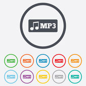 Mp3 music format sign icon. Musical symbol. — Stock Vector