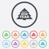 Happy new year sign icon. Christmas tree. — Stock Vector