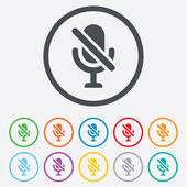 No Microphone sign icon. Speaker symbol. — Stock Vector