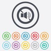 Speaker volume sign icon. No Sound symbol. — Stock Vector