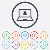 Laptop virus sign icon. Notebook software bug. — Stock Vector