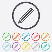 Bleistift-schild-symbol. schaltfläche inhalt bearbeiten. — Stockvektor