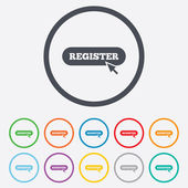 Register with cursor pointer icon. Membership. — Stock Vector