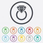 珠宝标志图标。与钻石象征圆环. — 图库矢量图片