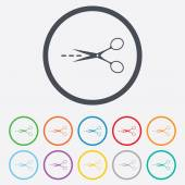 Scissors with cut line sign icon. Tailor symbol. — Stock Vector