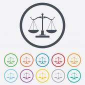 Scales of Justice sign icon. Court of law symbol — Stock Vector