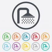 Shower sign icon. Douche with water drops symbol — Stock Vector