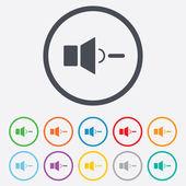 Icono de signo de bajo volumen altavoz. símbolo de sonido. — Vector de stock