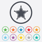 Star Sheriff sign icon. Police button. — Stok Vektör