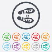 Step by step sign icon. Footprint shoes symbol. — Stockvector