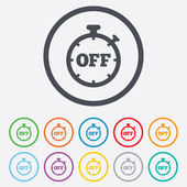 Timer off sign icon. Stopwatch symbol. — Vettoriale Stock