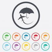 Flight insurance sign icon. Safe travel symbol. — Stock Vector