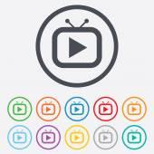 Retro TV mode sign icon. Television set symbol. — Stok Vektör