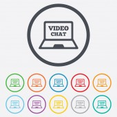 Video chat laptop sign icon. Web communication. — Stock Vector