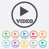 Play video sign icon. Player navigation symbol. — Stock Vector