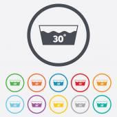 Wash icon. Machine washable at 30 degrees symbol — Stock Vector