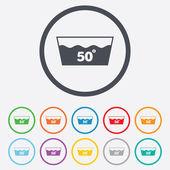 Wash icon. Machine washable at 50 degrees symbol — Stock Vector