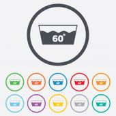 Wash icon. Machine washable at 60 degrees symbol — Stock Vector