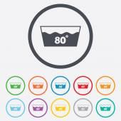 Wash icon. Machine washable at 80 degrees symbol — Stock Vector