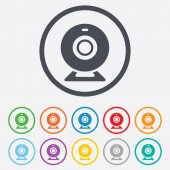 Webcam zeichen symbol. web-video-chat-symbol. — Stockvektor