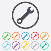 Wrench key sign icon. Service tool symbol. — Stock Vector