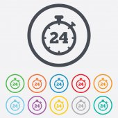24 hours Timer sign icon. Stopwatch symbol. — Stok Vektör