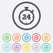 24 hours Timer sign icon. Stopwatch symbol. — Vettoriale Stock
