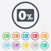 Zero percent sign icon. Zero credit symbol. — Stock Vector
