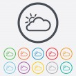Cloud and sun sign icon. Weather symbol. — Stock Vector #55354223