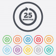 Every 25 minutes sign icon. Full rotation arrow. — Stock Vector #55358505