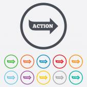 Action sign icon. Motivation button with arrow. — Wektor stockowy
