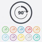 Angolo dell'icona del segno di 90 gradi. simbolo di matematica geometria — Vettoriale Stock