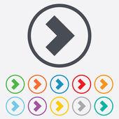 Icona del segno di freccia. pulsante avanti. simbolo di navigazione — Vettoriale Stock